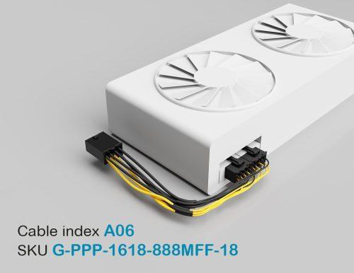 "18"" GPU PCI-E Male 8P to PCI-E Female 8P + PCI-E Female 8P 16&18AWG Wire"