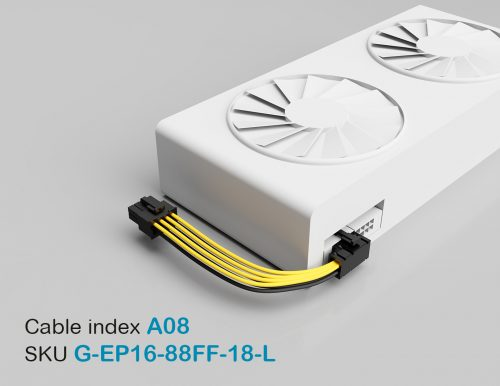 "18"" GPU EPS Female 8P to PCI-E Female Left-Angled 8P 16AWG Wire"