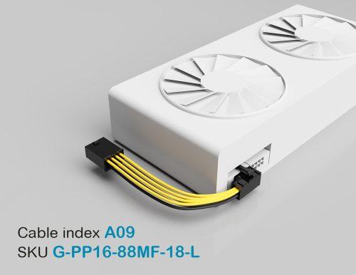 """18"""" GPU PCI-E Male 8P to PCI-E Female Left-Angled 8P 16AWG Wire"""